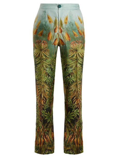 F.R.S - FOR RESTLESS SLEEPERS floral print silk green pants