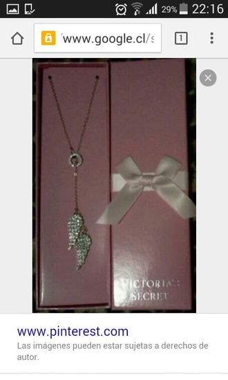 jewels victoria's secret necklace pink pretty cute angel wings girly girl girly wishlist