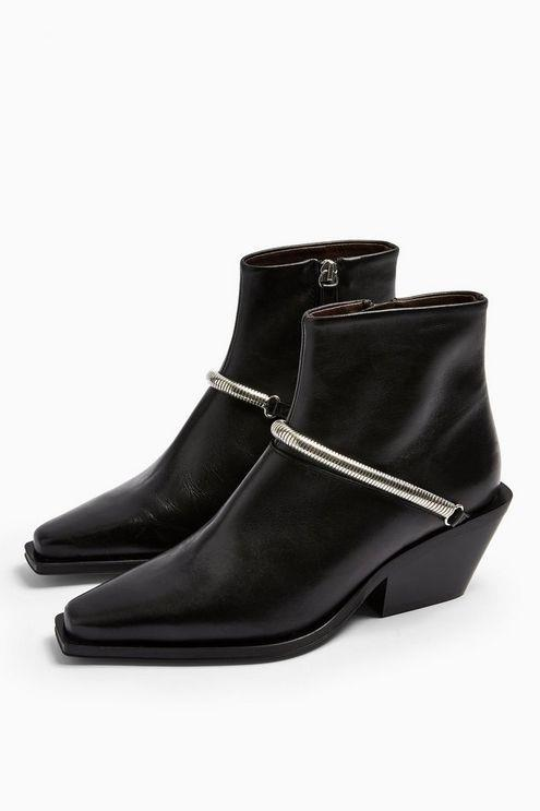 Mercy Black Leather Western Boots - Black