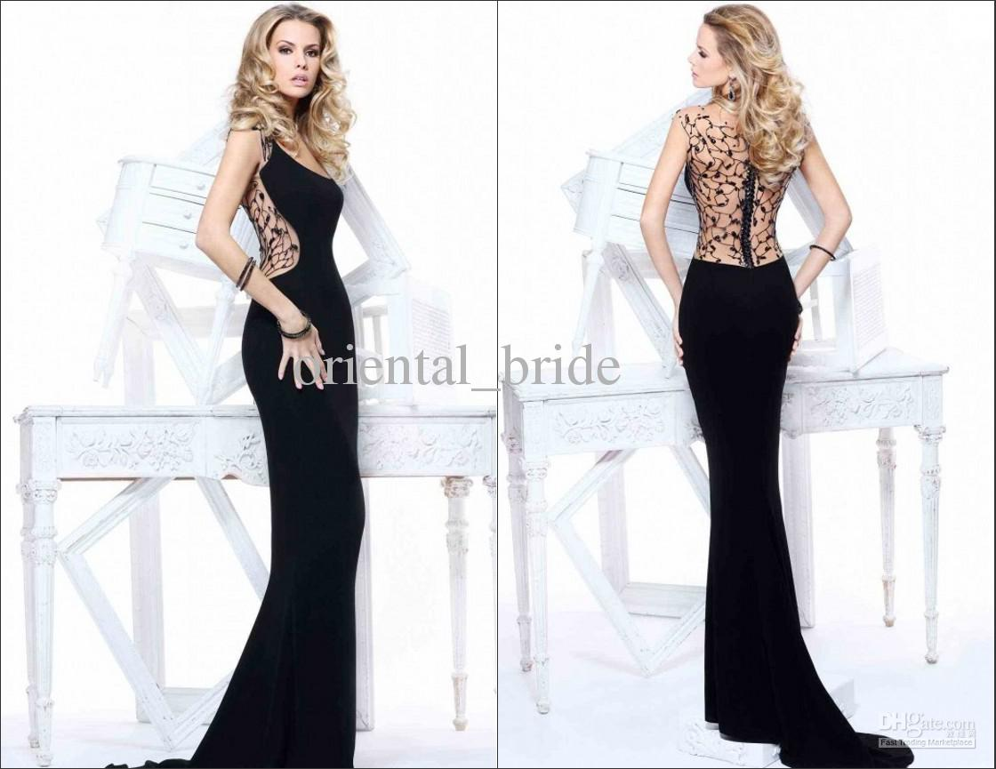 2013 Sexy Black Tarik Ediz Women Evening Dresses Long Sheath Scoop ...