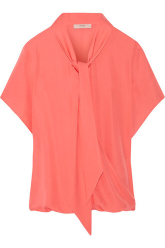 blouse bow silk coral top