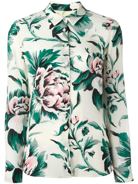 Burberry shirt women floral print silk top