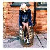 jacket,sustainable,fur jacket,faux fur jacket,blue jacket,blonde hair,tights,shoes,black and white