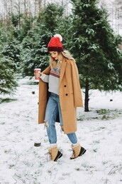 vickys style,blogger,sweater,coat,shoes,socks,hat,beanie,winter outfits,wool coat,camel coat,winter boots