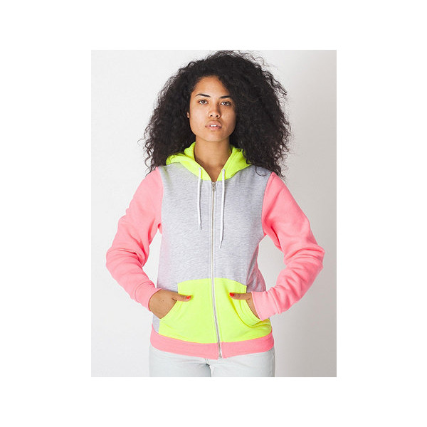 American Apparel Unisex Flex Fleece Three-Tone Zip Hoodie - Polyvore