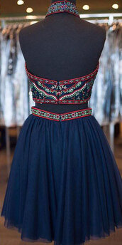 dress,a-line homecoming dresses,navy blue party dresses,with embroidery halter sale online