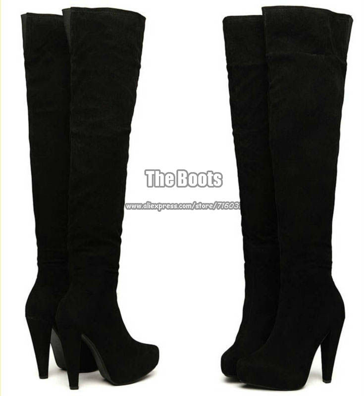 Sizes Black Brown Suede Ladies Long Leg Zipper Platform Thigh High ...