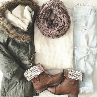 scarf jeans beautymanifesto top sweater boyfriend jeans jacket coat t-shirt shorts boots winter outfits winter jacket sweather weather light jeans shoes brown leather boots short boots ripped jeans fur collar coat cute white chunky sweater white sweater light blue jeans brown boots