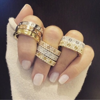 jewels cartier diamonds ring stacked ring jewelry