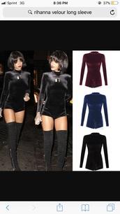 jumpsuit,black,velvet,shorts,turtleneck,rihanna style