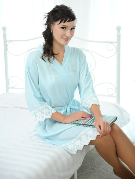 pajamas light blue kimono robes bridesmaid robes cotton robes bridesmaid