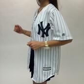 shirt,jersey,white,cute,sporty,yankees,yankees jersey,sporty jersey