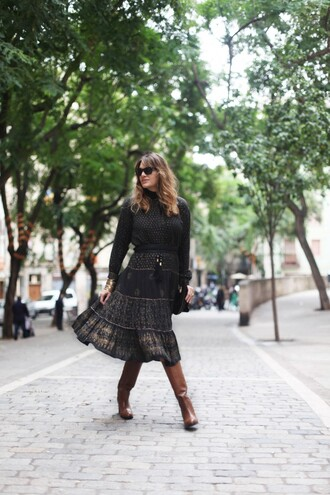 my daily style dress bag blogger folk brown leather boots