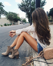southern curls and pearls,blogger,blouse,shorts,shoes,bag,shirt,white shirt,white blouse,denim shorts,blue shorts,cuffed shorts,gucci,gucci bag,nude bag,tassel,tassel bag,boots,grey boots,high heels boots,suede boots,spring outfits