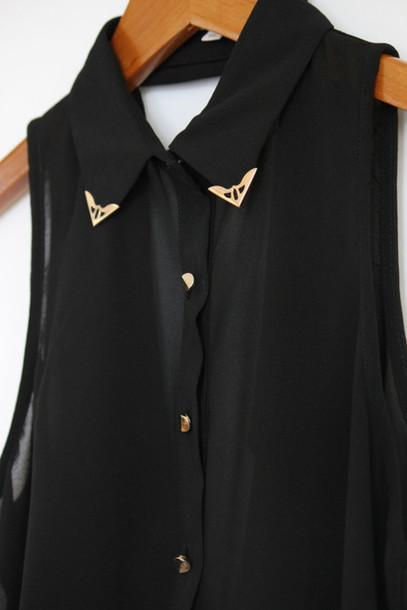 blouse black pretty night studded rock blouse shirt shirt collar elegant studded collar blouse
