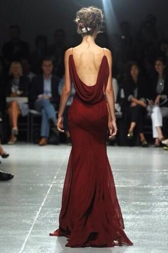 dress prom dress long dress wine red mermaid open back