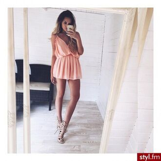 dress coral dress crop tops romper high heels shoes style fashion summer dress beautiful peach dress short dress jumpsuit peach peach dresses styl weheartit
