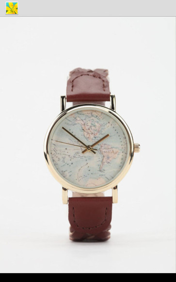 grey braid braided jewels vintage brown watch leather word map watches word map metallic