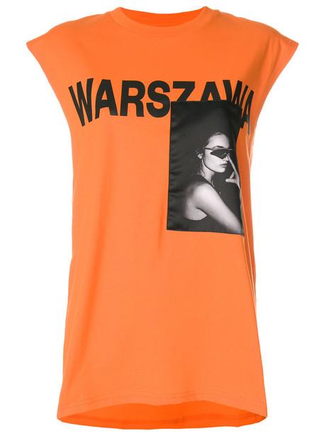 Misbhv t-shirt shirt t-shirt sleeveless women cotton print yellow orange top