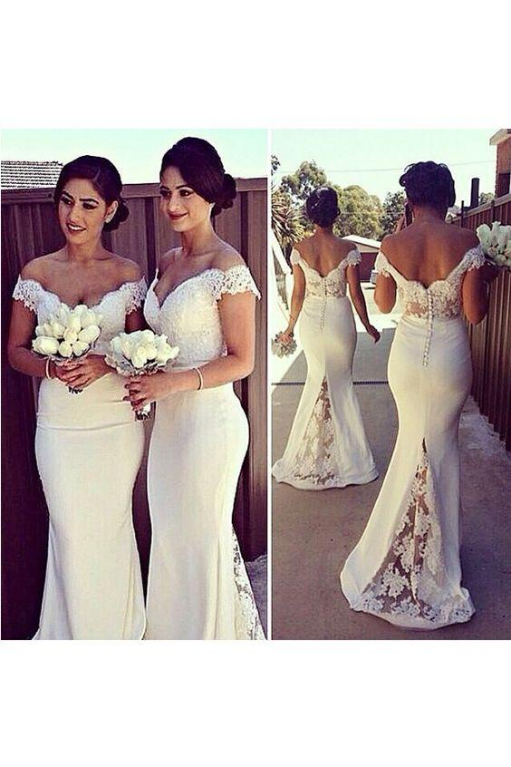 2016 White Lace Mermaid Bridesmaids Dresses Sexy Off The Shoulder