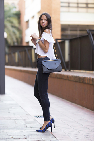 fashion vibe blogger bag shoes top jeans high heels summer outfits yves saint laurent zara white top sexy white shirt blouse crop tops casual outfit