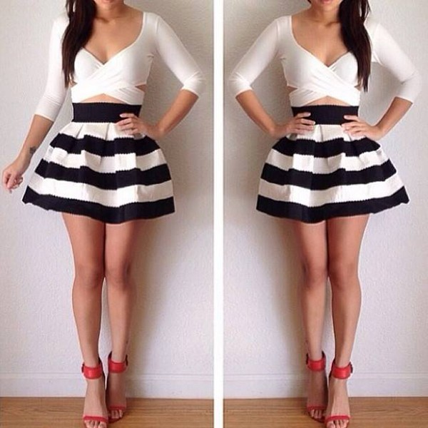 skirt crop tops red shoes white crop with black and white  skirt t-shirt