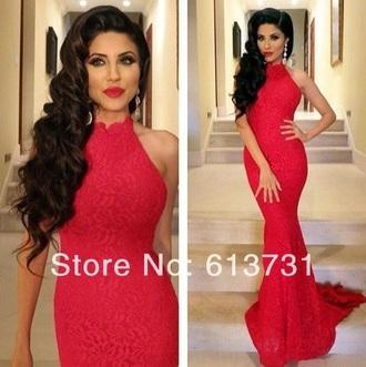 dress red dress red prom dresses red lace dress high neck formal dress prom dress