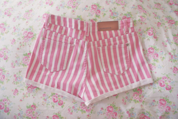 Shorts: pink, white, stripes, cute, striped shorts - Wheretoget