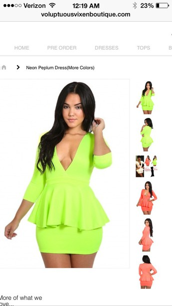 Neon Plus Size Peplum Dress Wheretoget