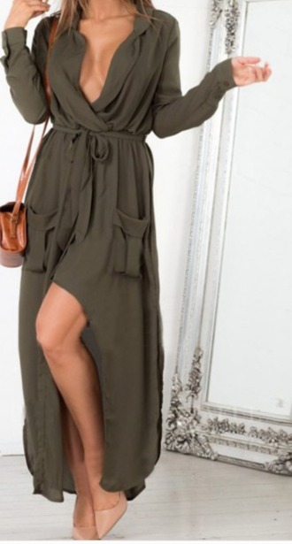 dress maxi dress cleavage military style