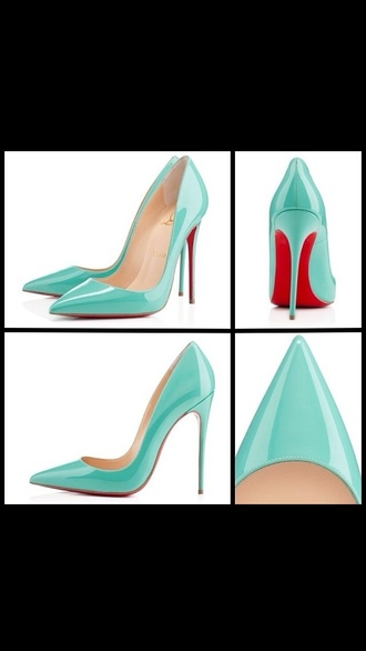 shoes louboutin tiffany blue tiffany&co so kate high heels blue high heels sexy