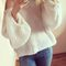 White casual loose long sleeve sweater