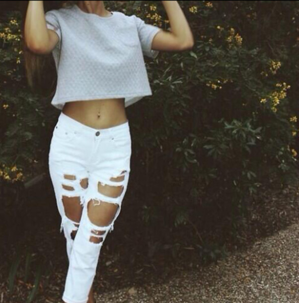 Sweater crop tops white jeans ripped jeans high waisted jeans cropped sweater jeans ...