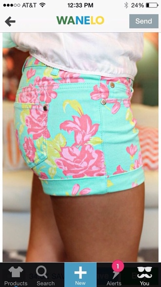 shorts pink yellow turquoise cute pretty fashion miss hollis