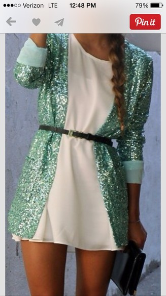 teal cute coat white dress sequins blazer ,