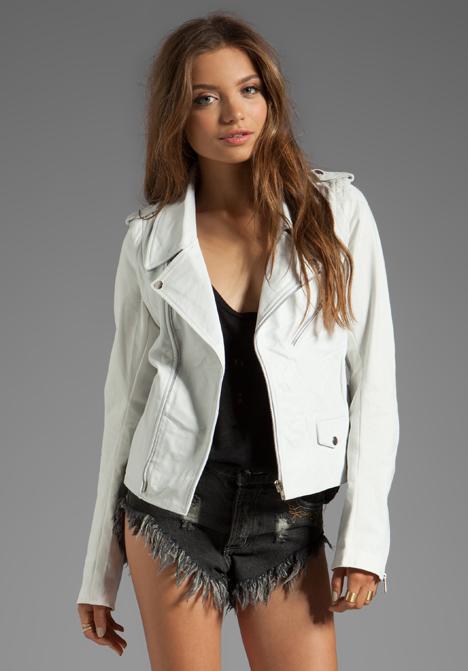 ONE TEASPOON Bowie Leather Jacket in White - One Teaspoon