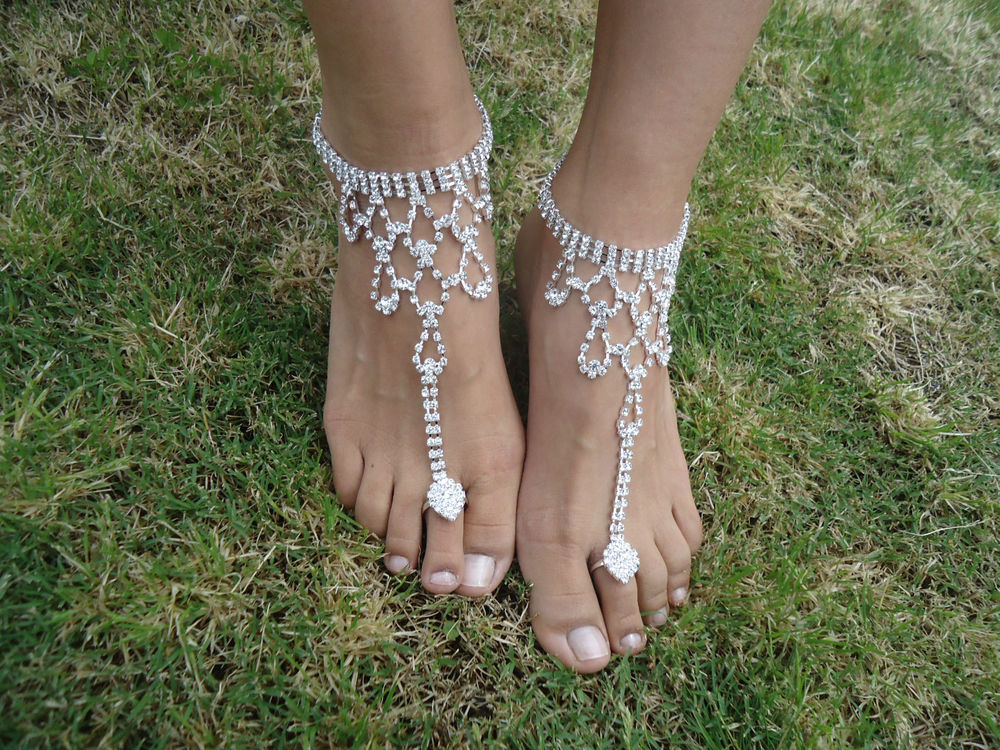 Shining Crystal Barefoot Sandals Anklet Foot Beach Wedding Bridal Bridesmaid | eBay