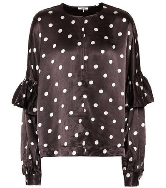 Ganni Polka-dot satin blouse in brown