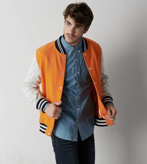 AEO Tipped Varsity Jacket, Orange | American Eagle Outfitters