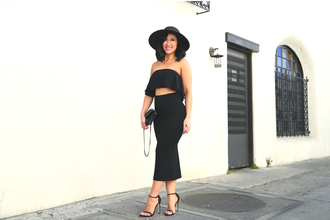 ktr style blogger all black everything black crop top black skirt bodycon skirt black shoes black hat