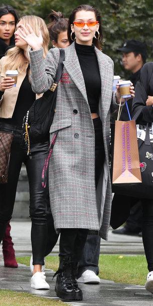 coat sunglasses pants crop tops bella hadid fall outfits plaid
