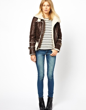 Mango | Mango Teddy Lined Collar Biker Jacket at ASOS