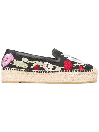 embroidered women espadrilles floral leather cotton black shoes