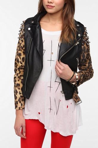jacket leopard print leather jacket grunge gorgeous jacker t-shirt
