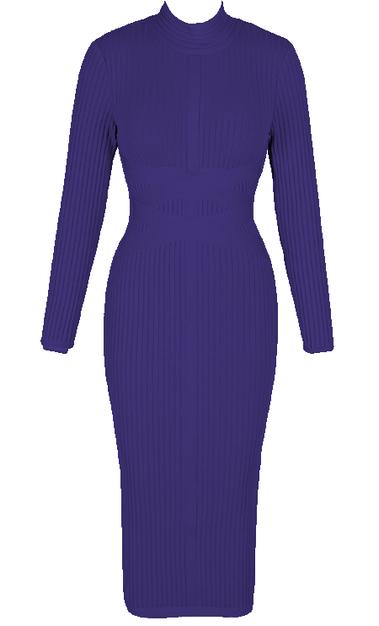 Long Sleeve Ribbed Midi Bandage Dress Blue