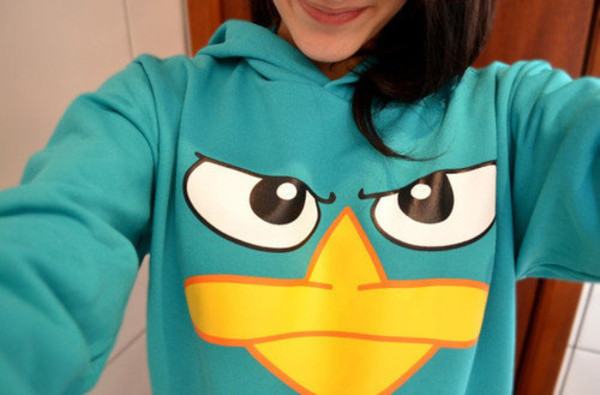 sweater clothes series phineas et ferb perry l'ornithorynque pullover pull bleu winter sweater