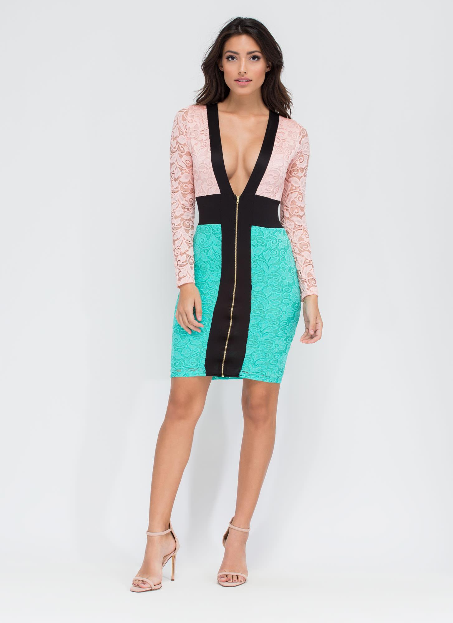 Favorite Colorblock Lace Midi Dress BLUSHMINT - GoJane.com