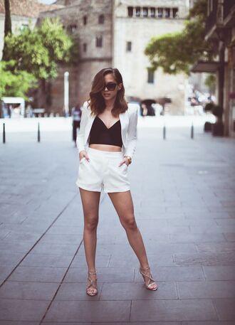 shorts white blazer black crop top white tailored shorts nude heels blogger sunglasses