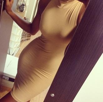 dress beige dress bodycon mock turtleneck bodycon dress classy