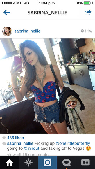 shirt corset cropped highwaisted shorts blue red high waisted short